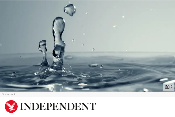 Independent headline with water splash