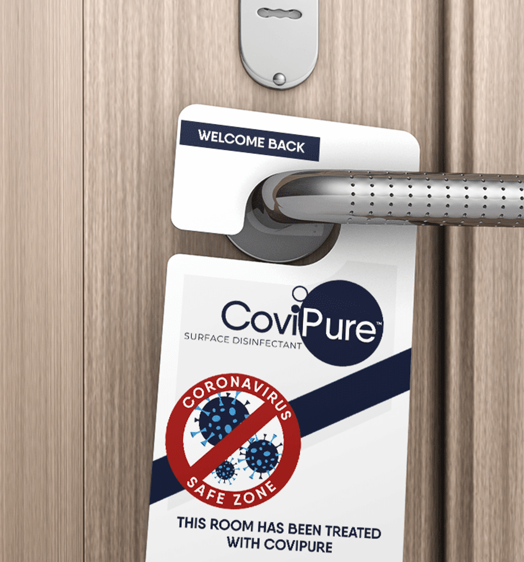 Hotel room card showing treated with CoviPure