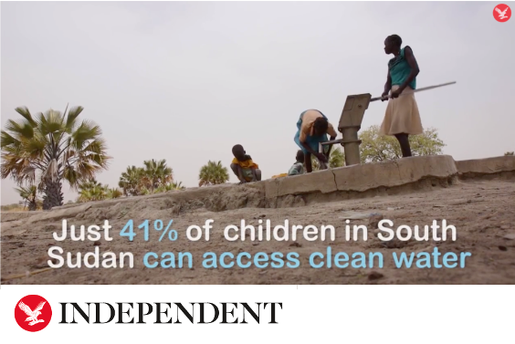 Independent headline with Sudan people in mud field - Just 41% of children in South Sudan can access clean water fact