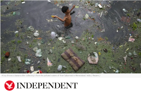 Independent news headline with child in dirty water