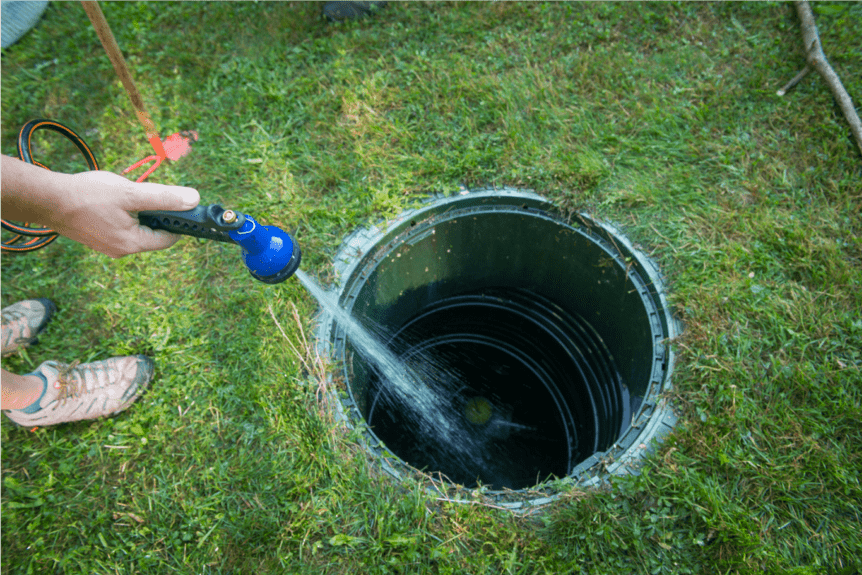 septic tank entrance to be treated with septipure